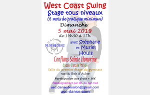 Stage de West Coast Swing le 5 mai 2019